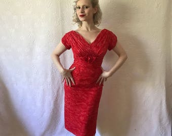 Vintage 1950s scarlet silk chiffon wiggle dress