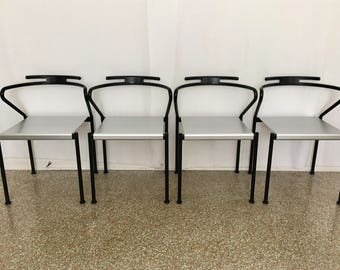 Set Of Four Vintage Modern Dining Chairs By Cidue Italy