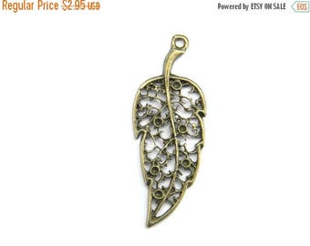 HALF PRICE 2 Bronze Lace Filigree Leaf Charms - 40mm