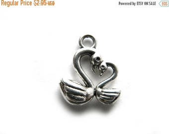 HALF PRICE 6 Silver Swan Charms