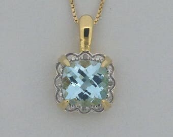 Natural Blue Topaz with Natural Diamond Pendant 925 Sterling Silver Gold Plated