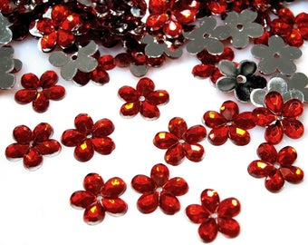 50 red transparent Crystal flowers