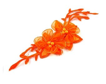 Orange flower patch of organza and beads