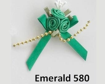3 small emerald green satin roses bouquet 3