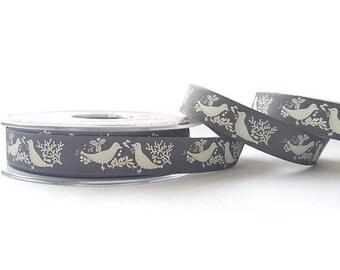 Ribbon 15 mm grey white chic bird motif