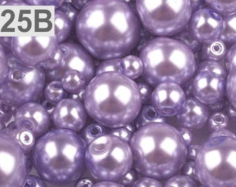 B - 25-100 g of 4-12 mm glass pearl beads different sizes
