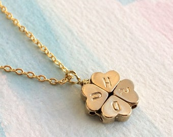 Personalised Four Leaf Clover Necklace- Shamrock Necklace - Clover Necklace -Lucky Charm Necklace - BFF Necklace