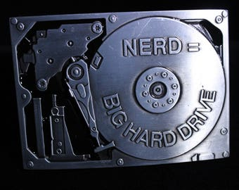 NERD = Big Hard Drive Belt Buckle