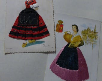 vtg ELSI GUMIER Silk Embroidered Fabric Lace Embellished Spain Madrid postcards / Zaragoza # 16, Galicia #17 / Free Ship usa
