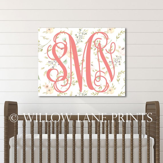 baby name sign for nursery wall art for girls monogram canvas art