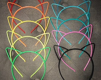 Set of 10 Plastic Cat Ear Headbands Cat Ears Birthday Party Favors Kitty Cat Ears Cat Hair Bands Fits Kids and Adults Ready to Ship