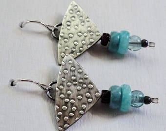 Sterling Silver Earrings with Turquoise, Amazonite, Sugilite, Apatite and Sterling Beads. Free US Shipping