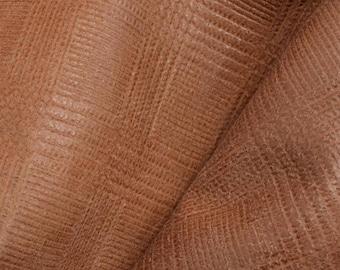 """Lake Cabin Brown Plaid Leather Cow Hide 4""""x 6"""" Pre-cut 1-2 ounces DE-63083 (Sec. 3,Shelf 5,C,Box 3)"""