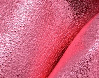 """Party Girl Pink Metallic """"Vegas"""" Leather Cow Hide 4"""" x 6"""" Pre-cut 3-4 ounces DE-63239 (Sec. 8,Shelf 6,C,Box 2)"""