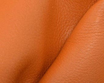 "NZ Deer Sale Pumpkin Orange Leather New Zealand Deer Hide 4"" x 6"" Pre-cut 2-3 ounces-30 DE-66167 (Sec. 3,Shelf 5,A,Box 2)"