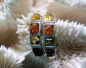 Sterling Silver Pierced Earrings with Multicolored Amber Stones - 5433