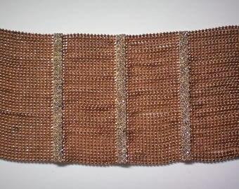 Fabulous Bijoux Petite Gold tone Bead with Rhinestone Bars Bracelet - 5497