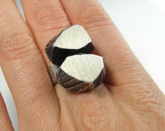 Modernist Ring Space Ring Sterling Silver Ring Geometric Ring Chunky Ring Pebble Ring Minimalist Ring Pebble Jewelry Artisan Rings 1970s