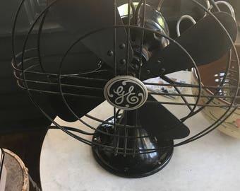 Vintage 1940's Black GE Industrial Fan, Works Great, Looks Great, Approx. 12 Inch Diameter