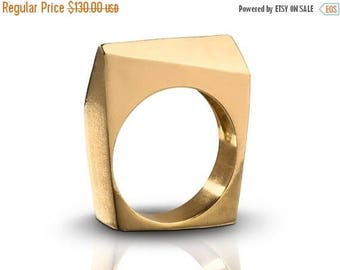 ON SALE 20% OFF Architectural Diagonal Shaped 14K Gold Nugget Ring, Geometric Statement Minimist Ring - Handmade Product
