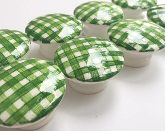 Custom Green Gingham Hand Painted Drawer Pulls Cabinet Knobs