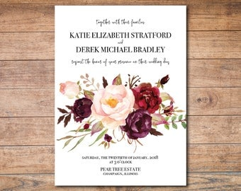 Fall Floral Wedding Invitation Template Printable Invites Editable