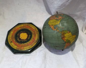 Small Globe and Stand, Antique Desk Globe, Old Cartography Salvage