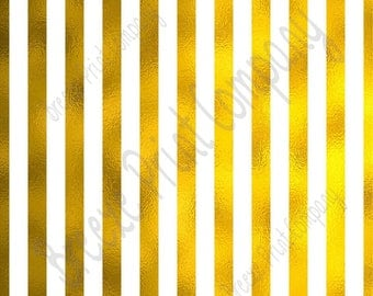 Gold foil and white craft large stripe pattern sheet - HTV or Adhesive Vinyl -  HTV4801