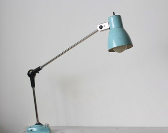 Industrial Articulated Work Lamp / Architect Desk Table Light Lighting / Bauhaus Loft Office - Bleu Ciel - Canada - 60s