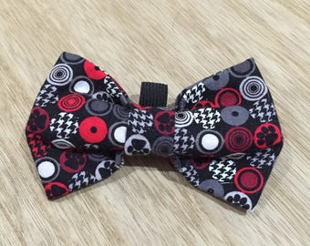 The Rosie / Red Black Bow-Tie / Loops onto collar with elastic