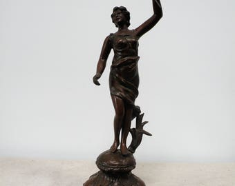 Vintage Spelter Figure Female with Trident