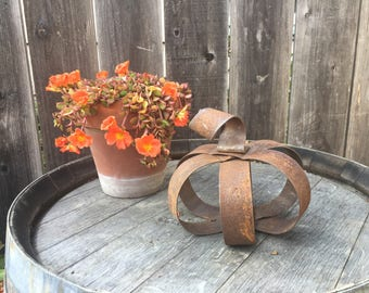 Metal Pumpkin Mini | Rustic Farmhouse Country Cottage Decor | Fall and Harvest | Pumpkins Handmade from Recycled Wine Barrel Metal Hoops - M