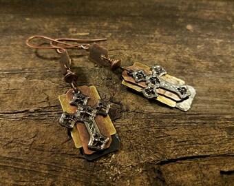 Cross Earrings, Mixed Metal Earrings, Metal Earrings, Faith Earrings