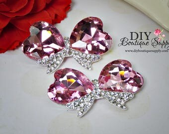 GORGEOUS HUGE Pink Hearts Crystal Bow Embellishment Rhinestone Buttons flatback Bridal Accessories Shoe Clips flowers centers 2pc 60mm N152