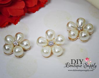 Cute flower Pearl buttons flatbacks Pearl Rhinestone buttons Crystal Buttons Gold Pearl bow flower centers Bridal accessories 3pcs 23mm N154