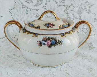 Vintage Noritake Vasona, Sugar Bowl, Circa 1918 – 1920's, Rare, Round Handles