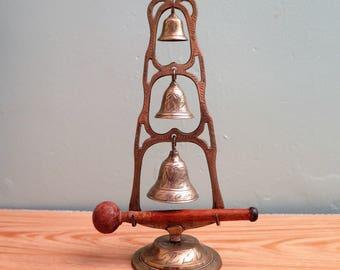Vintage Brass Bells - Vintage Gong Set - Indian Brass Bell Set - Set of Three Bells - Suspended Bells - Vintage Indian Brass Bell Gong Set
