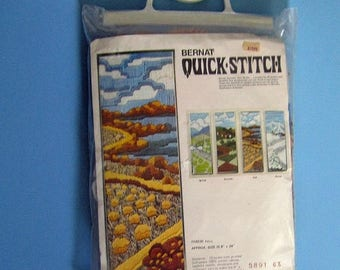 SALE 900) Bernat Quick Stitch, T08530 Fall, 8 inch x 24 inch, Home Decor, Fall Scenery, Wall Hanging, Vintage New Kit