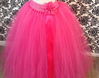 Long Hot Pink Tutu Skirt, Pink Tutu, Long Flower Girl Tutu, Hot Pink Long Tutu, Pink Flower Girl Tutu, Pink Tutu, Pink Maternity Tutu