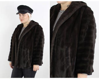 Vintage 1970's Dark Brown Faux Fur Jacket UK 10 12 14 / S Small M Medium / Free Uk Shipping