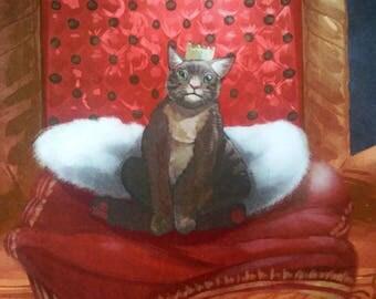 Art print: royal cat on throne