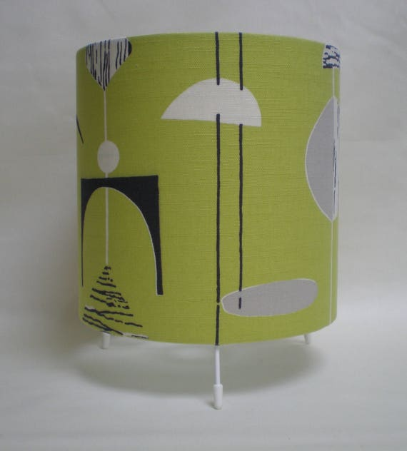 Handmade Drum Table Lamp - Sandersons 50's Mobiles Fabric - Lime and Black