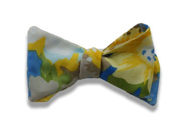 Handmade bow tie watercolor yellow blue floral self tie freestyle classic pattern colorful cotton bowtie