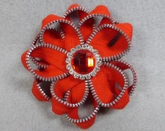 Orange-Red Flower Brooch, Zipper Brooch, Orange-Red Brooch, Pin, Zipper Pin, Zipper Art, , Flower Pin, Upcycled, Recycled, Repurpose