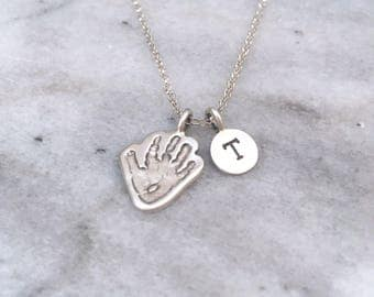Baby Footprint Personalised Engraved Necklace - Footprint Jewellery, Handprint Jewellery, Silver Handprint Necklace, Mum Gift