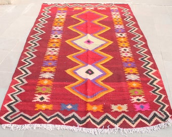 Turkish Kilim Rug 61''x98'' Oriental Rug Anatolian Kilim Rug Wool Area Carpet