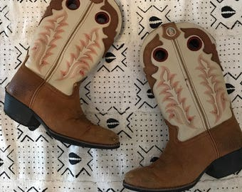 Kids size 1.5 vintage cowboy boots, Tony Lama cowboy boots, vintage tony lama western boots, boho kids boots, rustic kids boots, folkie kids