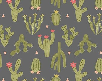 Fabric, Desert  Cactus on Dark Gray, Lewis and Irene, Paracas, Cacti, Succulents, By The Yard