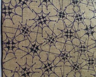 Halloween Spider Webs on Burlap    Halloween tablerunner    Black & Purple Spider Webs