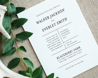 Printable Wedding Invitation Suite | Simple Wedding Invites | RSVP Card | Wedding Details Card | Modern Wedding Invitations | WI-024